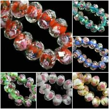 8 10 12mm10pcs Rondelle Faceted Glass Rose Flower Lampwork Loose Glass Beads#Q