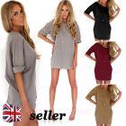 UK Womens Fashion Casual Loose Chiffon Tops Shirt Half Sleeve Short Dress Blouse