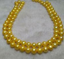 "35"" HUGE 11-13MM NATURAL SOUTH SEA GENUINE GOLDEN PEARL NECKLACE 14K GOLD CLASP"