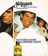 PUBLICITE ADVERTISING 104  1976  CARON  eau de toilette pour homme YATAGAN