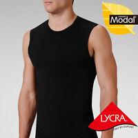 Mens Modal Crew Neck Muscle Sleeveless T-Shirt Tank Tops Fit Slim Tees YU5550