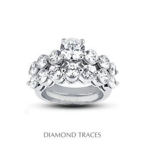 3.64ct G-SI1 Round Natural Certified Diamonds 18k Classic Matching Bridal Set