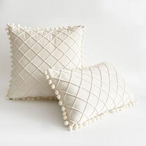 Nordic Pompom Argyle Velvet Cushion Cover Soft Throw Pillowcase Home Sofa Decor