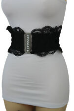 Women Elastic High Waist Hip Wide Black Lace Fabric Bling Silver Buckle Belt S M
