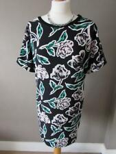 DOROTHY PERKINS Ladies Black White Green Pink Floral Short Tunic Dress 20 VGC