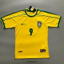 1998 Brazil Yellow Retro Jersey Home Football Shirt Ronaldo #9