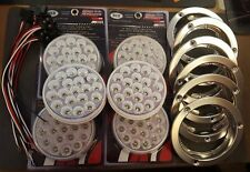 "(6) 19 LED Trux Dual Revolution 4"" Round Clear Lens Stop Tail Back-Up Flange Kit"