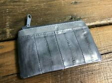 Genuine Eel Skin Leather Purse Grey Credit Card Coin Note Zip Fastening Light