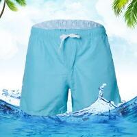 US Mens Swimming Board Shorts Solid Trunks Swim Pants Surf Beach Swimwear Color