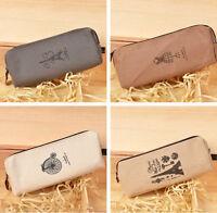 Retro Canvas Paris Pencil/Pen Case Cosmetic Makeup Coin Purse Pouch Zipper Bag