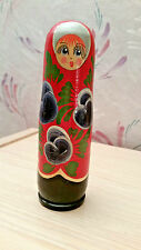 Russian Hand Painted Wooden Matryoshka Nesting Doll Style Small Bottle Holder