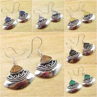Petrified Wood & Other Gemstones Choice ! 925 Silver Plated TIBETAN ART Earrings