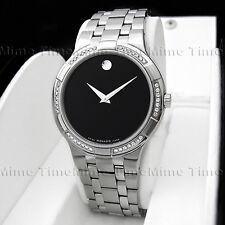 Men's Movado METIO Diamond Black Dial Stainless Steel Swiss Quartz Watch 0605984