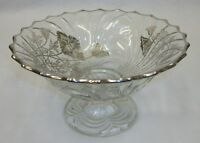 Vintage Clear Glass Candy Dish Pedestal Compote Poppy Flower Silver Overlay