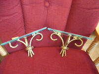 Vintage Home Interiors Wall Shelf Set Gold Metal Twisted Rope Base w Glass Top