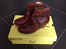 PR NEW FLY LONDON LAU ANKLE BOOTS BRICK SIZE 37 ZIP BUCKLE DECOR WEDGE LEATHER