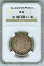 Original NGC VF25 1876H Newfoundland 50c--28K Minted!