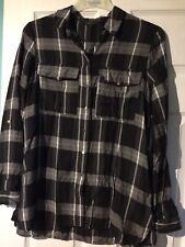 River Island Long Black/Grey Check Shirt Blouse Size 12 (EUR 38) VGC