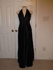 NWT LAUNDRY SHELLI SEGAL BLACK SATIN SLEEVELESS HALTER FULL LENGTH GOWN DRESS 6