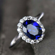 GTL Certified Oval Sapphire Gemstone Engagement 14 k White Gold Ring