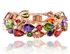Multi Color Glass Beads Wedding Rose Gold Plated Women Fashion Bracelet T87