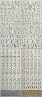 Italic Script Alphabet or Numbers Self Adhesive Glitter Stickers Gold or Silver