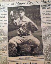 MICKEY COCHRANE Detroit Tigers Catcher Wins MVP Baseball Award 1934 Newspaper