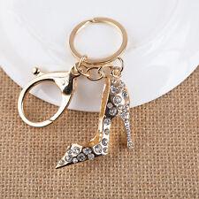 Fashion Sexy Crystal high-heeled shoes KeyChain Rhinestone Key Chain Ring Charm