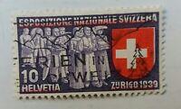 Schweiz. Einzigartige Abart der Farbe Rot. 10 Helvetia zurich 1939. Error.