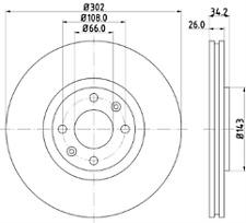FITS CITROEN DS PEUGEOT 208 308 3008 5008 NTEX FRONT DISC BRAKES PAIR MDC2032