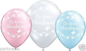 10 X  CHRISTENING BABY BOYS GIRLS PARTY BLUE PINK CLEAR HELIUM BALLOONS