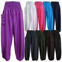 New Ladies Smock Harem Pants Bohemian Boho Hippie Aladdin Yoga Genie Trousers HP