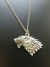 "Ancient Silver ""Game of Thrones"" Stark Direwolf Charm Pendant Inspired Necklace"