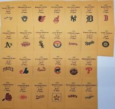 1992 Strat-O-Matic Baseball Printed Storage Envelopes with Stats and Team Logo