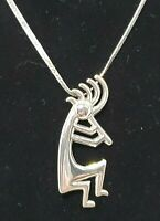 Native American Kokopeli Pin Pendant Sterling Silver Chain Navajo