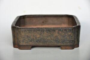 Antique Chinese Nakawatari Era Namako Blue Green Glazed Square Kifu Bonsai Pot