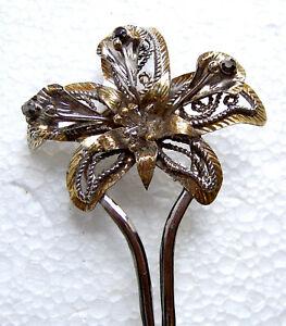 Vintage Java hair pin silver tone leaves design hair accessory (BZG)