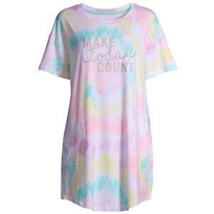 Tie Dye Sleepshirt Plus Size 2X/3X Short Sleeve Nightgown Pajamas POCKETS NWT