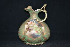 Antique Nippon Hand Painted Ornate Rose Center Water Pitcher