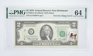 Rare PMG Grade 64 FR1935-E (EA Block) 1976 $2 Note Bill 1st Day Issue Stamp *913