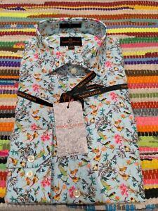 Simon Carter Ornate Bird Print Shirt Size 15.5 - Brand New