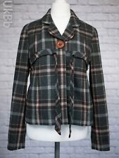 Topshop Tweed Coat Size 12 Checked Jacket Warm Winter Grey Pink Wool Blend