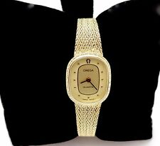 LADYS OMEGA QUARTZ 1365 PUSHBUTTON CROWN 14K SOLID GOLD BRACELET WATCH,RUNS,BOX