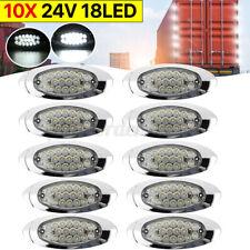 10x 24V 18 LED White Chrome Base Side Marker Indicator Light Bus Truck Trailer