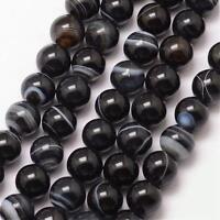 Natürliche Streifen Achat Perlen Indische Schwarz Weiß 8mm Edelsteine BEST G723