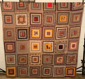 Antique Vintage Cotton Fabrics Mid-Late 1800s Log Cabin Quilt
