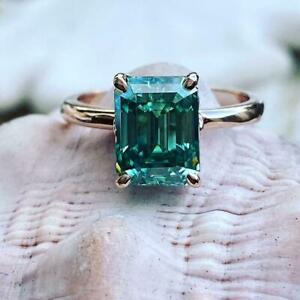 925 Sterling Silver Ring 3.00 Ct Emerald Cut Green Emerald Engagement Ring