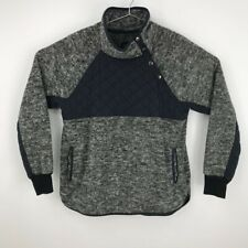 Abercrombie & Fitch Mens Fleece Pullover Jacket Gray Asymmetric Snap Large