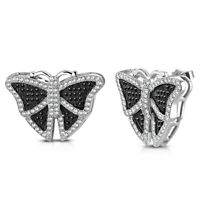 925 Sterling Silver Black White CZ Butterfly Stud Earrings