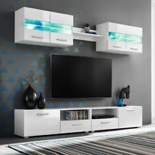 vidaXL Wohnwand 5-tlg. mit LED-Leuchten Hochglanz Weiß Anbauwand TV Wand